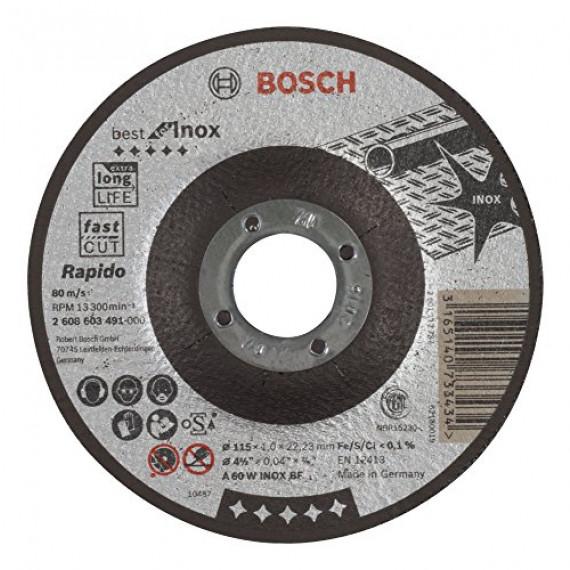 Bosch Professional Bosch 2608603491 Disque à tronçonner à moyeu déporté best for inox rapido A 60 W inox BF 115 mm 1,0 mm