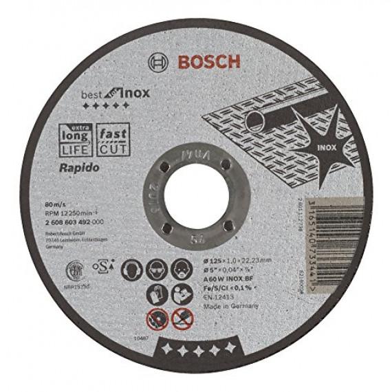 Bosch Professional Bosch 2608603492 Disque à tronçonner à moyeu plat best for inox rapido A 60 W inox BF 125 mm 1,0 mm