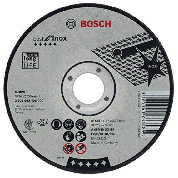 Bosch Professional Bosch 2608603502 Disque à tronçonner à moyeu plat best for inox A 30 V inox BF 115 mm 2,5 mm