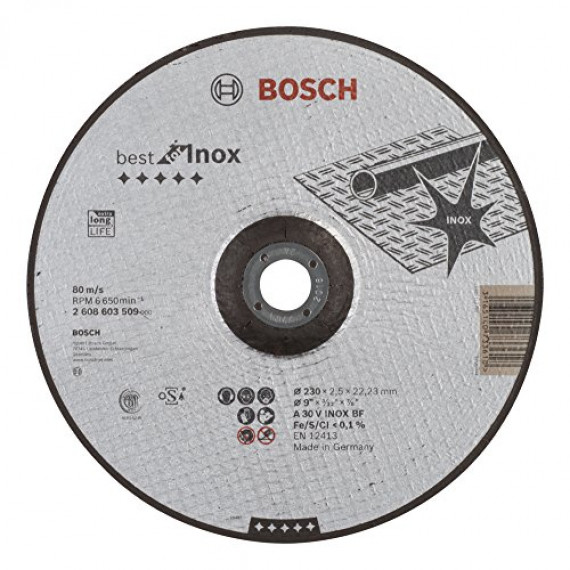 Bosch Professional Bosch 2608603509 Disque à tronçonner à moyeu déporté best for inox A 30 V inox BF 230 mm 2,5 mm