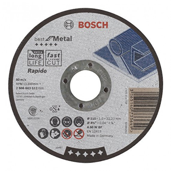Bosch Professional Bosch 2608603512 Disque à tronçonner à moyeu plat best for metal rapido A 60 W BF 115 mm 1,0 mm