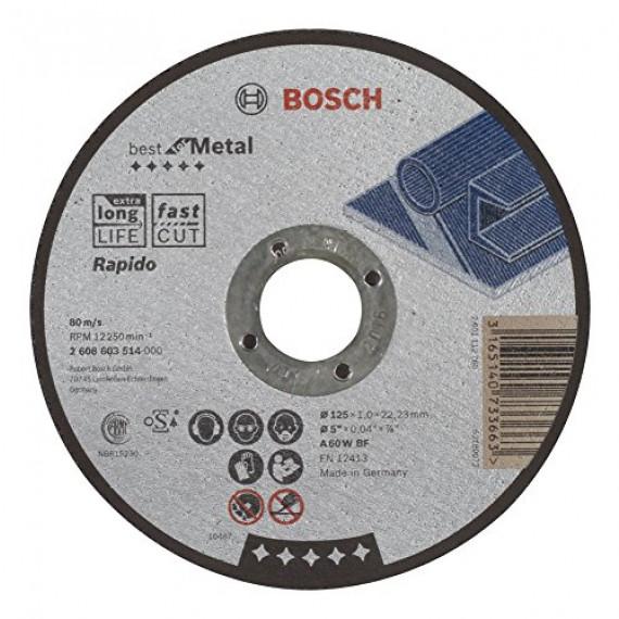 Bosch Professional Bosch 2608603514 Disque à tronçonner à moyeu plat best for metal rapido A 60 W BF 125 mm 1,0 mm