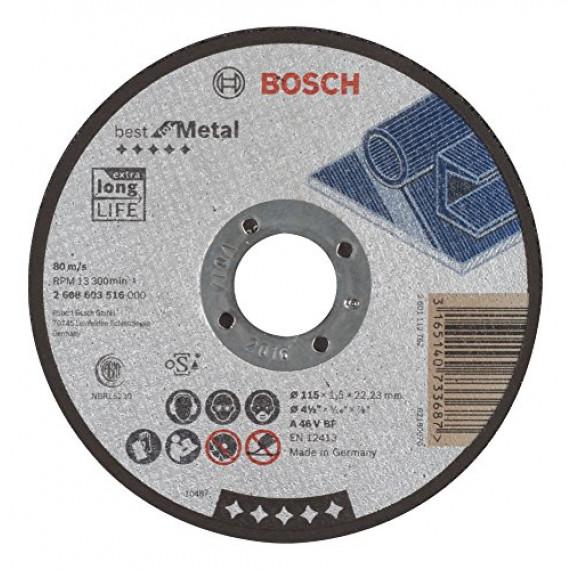 Bosch Professional Bosch 2608603516 Disque à tronçonner à moyeu plat best for metal A 46 V BF 115 mm 1,5 mm