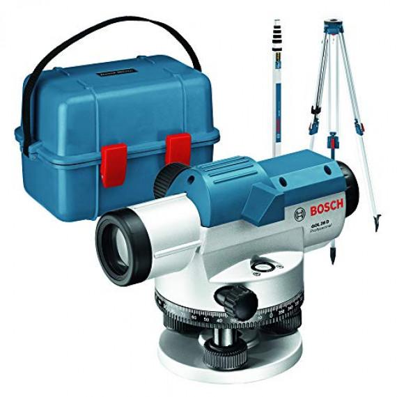 Bosch Professional Niveau optique GOL 26 D (grossissement 26x, unité de mesure : 360 degrés, portée : jusqu'à 100 m, pige GR 500, trépied BT 160, dans un coffret de transport)