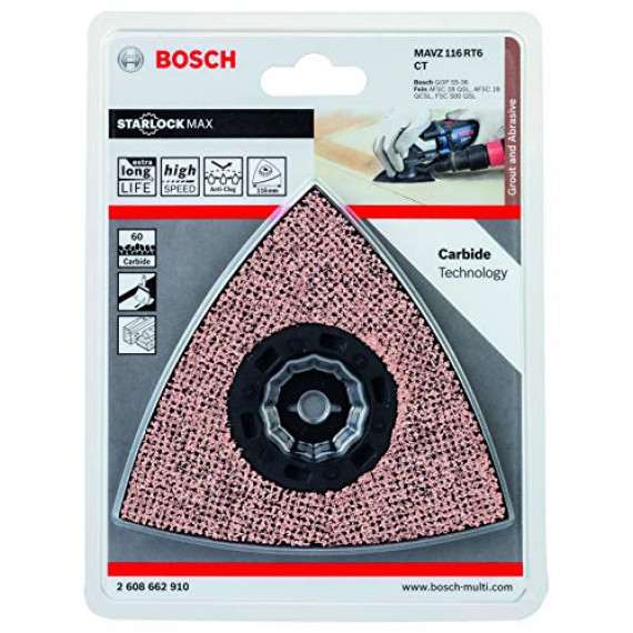 Bosch Professional 2608662910 Bosch 2608662910-Accesorio Para multiherramienta MAVZ 116 RT6: mortero,abrasivo: carburo