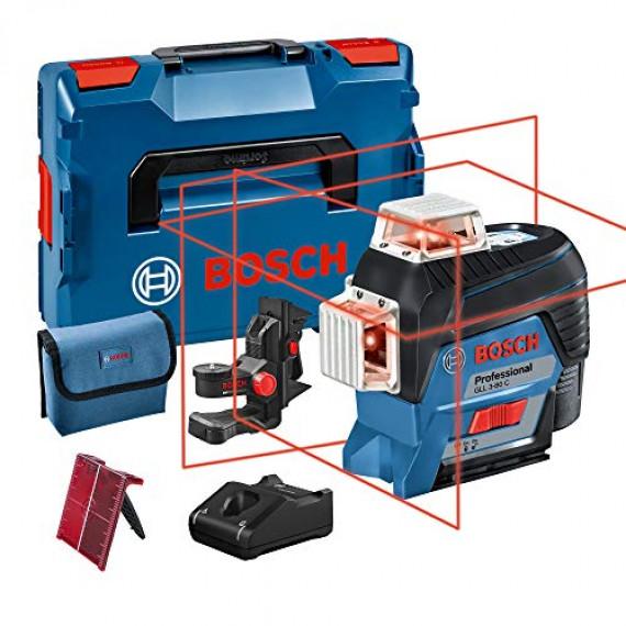 Bosch Professional 12V System Laser Lignes GLL 3-80 C (1 batterie 12V, laser rouge, avec fonction d'application, portée : jusqu'à 30 m, support universel BM 1, L-BOXX)