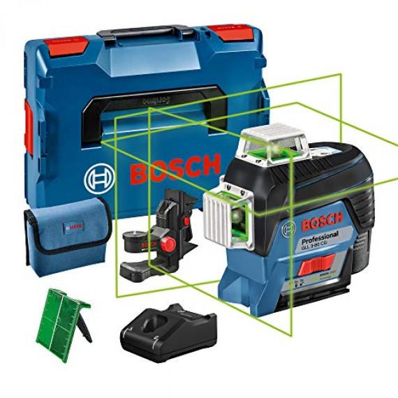 Bosch Professional 12V System Laser Lignes GLL 3-80 CG (1 batterie 12V, laser vert, avec fonction d'application, portée : jusqu'à 30 m, support universel BM 1, L-BOXX)