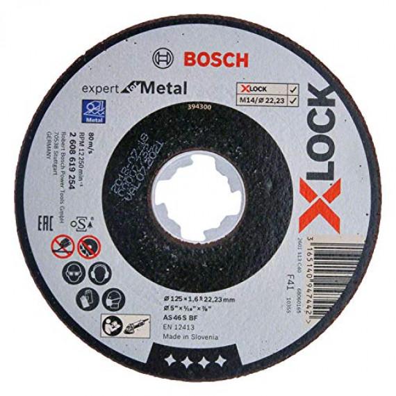 Bosch Professional 2608619254 Disque à Tronçonner à Surface Plate Expert for Metal (pour les Métaux, X-LOCK, Ø125mm, Alésage: 22,23mm, Épaisseur: 1,6mm)