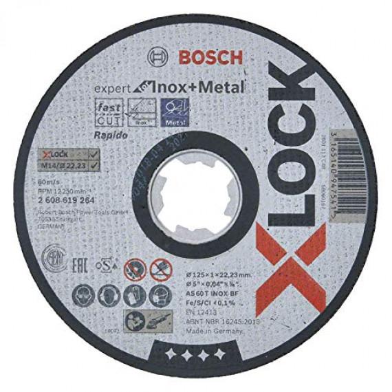 Bosch Professional 2608619264 Disque à Tronçonner à Surface Plate Expert for Inox & Metal (pour l'inox et les Métaux, X-LOCK, Ø125mm, Alésage: 22,23mm, Épaisseur: 1mm)