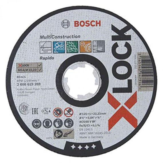 Bosch Professional 2608619269 Disque à Tronçonner à Surface Plate (pour matériaux multiples, X-LOCK, Ø125mm, Alésage: 22,23mm, Épaisseur: 1mm)