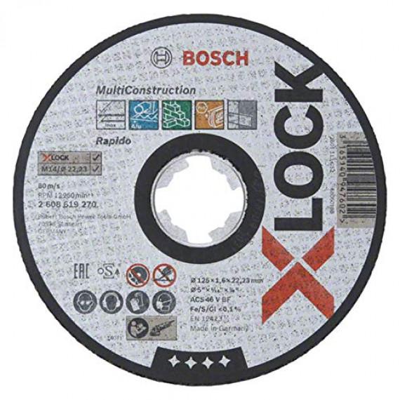 Bosch Professional 2608619270 Disque à Tronçonner à Surface Plate (pour matériaux multiples, X-LOCK, Ø125mm, Alésage: 22,23mm, Épaisseur: 1,6mm)