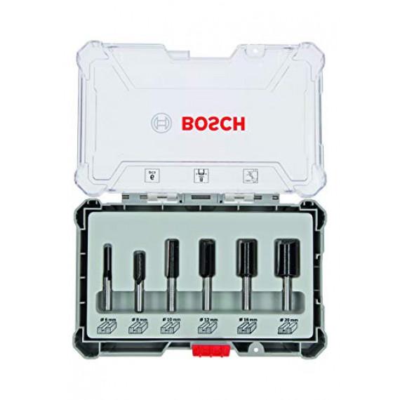 Bosch Professional 6pièces Jeu de fraises droites (pour le bois, accessoires de fraises d'encastrement avec tige de 8mm)