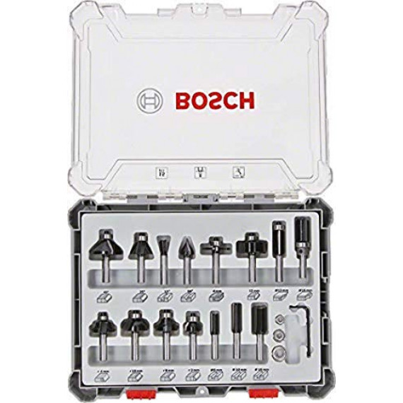 Bosch Professional 15pièces Jeu de fraises (pour le bois, accessoires pour défonceuses à tige de 8mm)