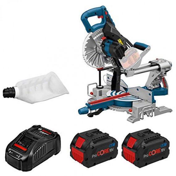 Bosch Professional BITURBO Scie à Onglets Radiale GCM 18 V-216 (avec 2 Batteries ProCORE 18 V 8,0 Ah + Chargeur GAL 1880CV, Lame de Scie, dans Carton) Bleu 0601B41001