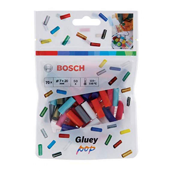 Bosch Professional Bosch 70 Pièces Bâtons de Colle Gluey (Bâtons de Colle Gluey POP, Dimension du Bâton: 20 x7mm, Accessoire pour Pistolet à Colle Chaude Gluey)