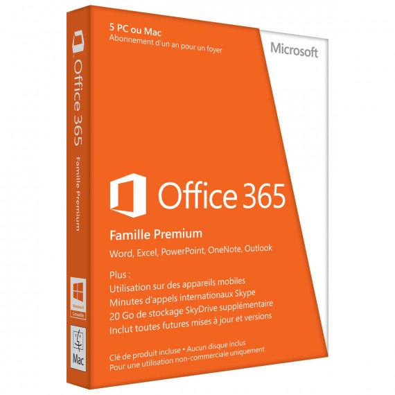 Logiciel suite bureutique Microsoft Office 365 Famille Premium Licence 1 utilisateur pour 5 PC ou Mac du même foyer