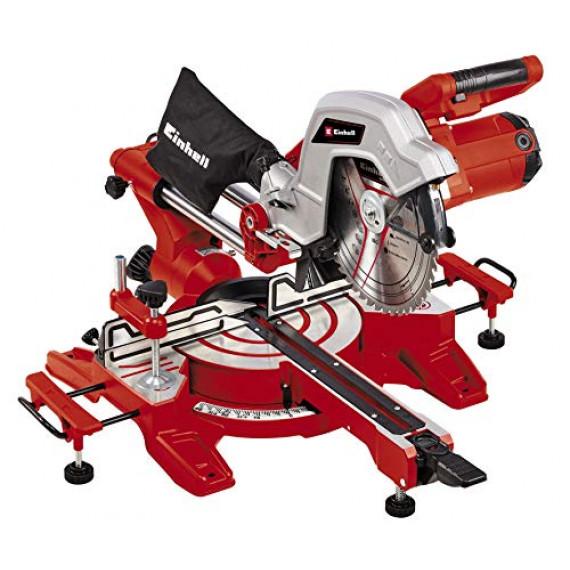 Einhell Scie à onglet radiale TC-SM 254 (1900 W, fonction de traction sur double glissière, table pivotante à réglage rapide et butées d'angles, laser, vendue avec lame aux carbures de tungstène)