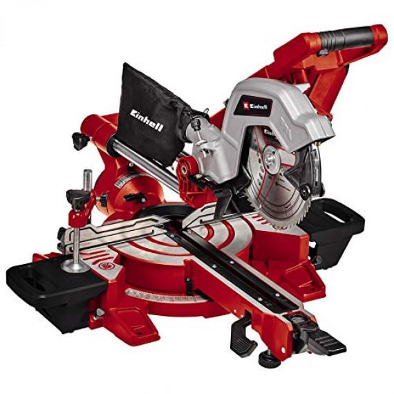 Einhell Scie à onglet radiale TE-SM 216 Dual (puissance de 1800 W, fonction de traction, laser, réglage d'angles rapide, blocage d'arbre «Spindle-Lock», vendue avec lame aux carbures de tungstène)