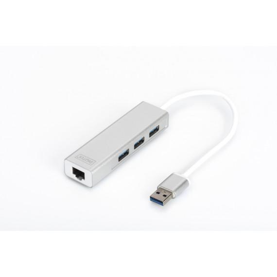 DIGITUS USB 3.0 3-Port Hub mit Gigabit LAN