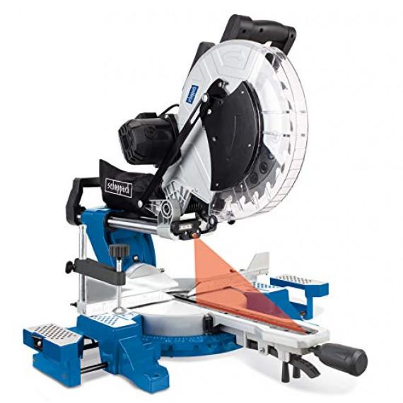 SCHEPPACH Scie à onglet radiale  HM140L, scie à onglet 2000W, lame de scie 305mm, largeur de coupe 330mm bleu 890 x 615 x 490 mm