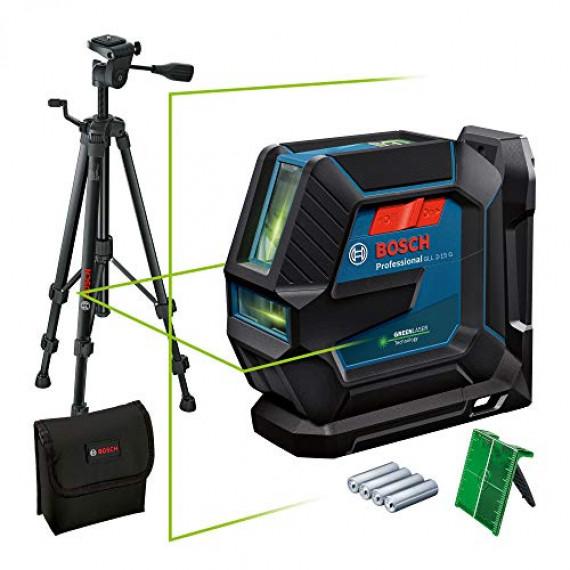 Bosch Professional Niveau Laser GLL2-15G (faisceau vert, d'intérieur, support LB10, trépied BT 150, portée visible: jusqu'à 15m, 4xpiles AA)