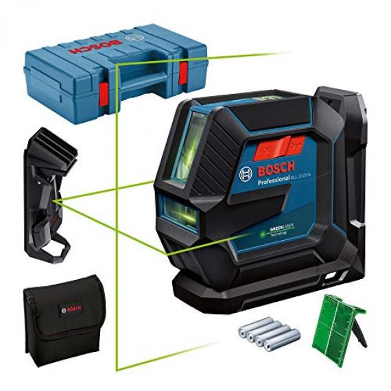 Bosch Professional Niveau Laser GLL2-15G (faisceau vert, support LB10, pince plafond, portée visible: jusqu'à 15m, 4xpiles AA, coffret de transport)