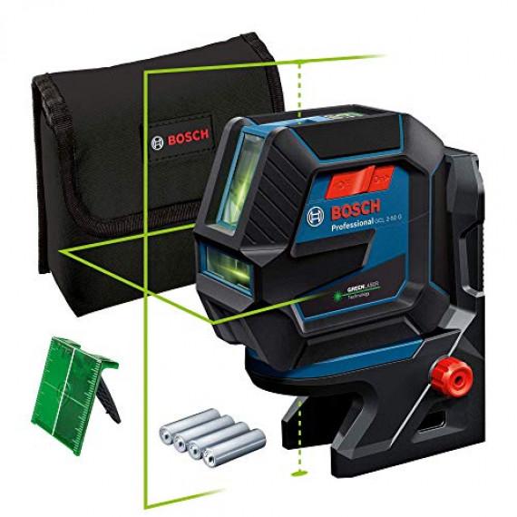Bosch Professional Niveau Laser GCL2-50G (faisceau vert, support RM10, portée visible: jusqu'à 15m, 4xpiles AA, dans une boîte en carton)