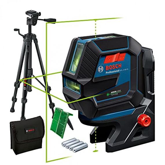 Bosch Professional Niveau Laser GCL2-50G (faisceau vert, support RM10, trépied BT 150, portée visible: jusqu'à 15m, 4xpiles AA, dans une boîte en carton)
