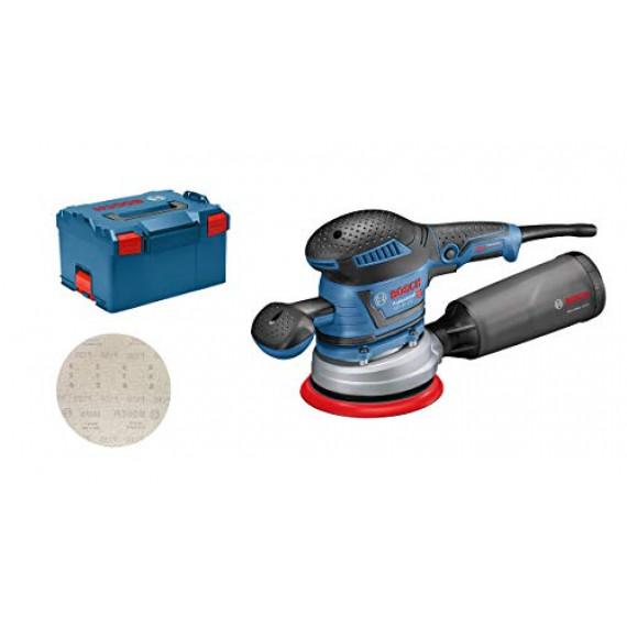 Bosch Professional ponceuse excentrique GEX 40-150 (avec poignée supplémentaire, boîtier récupérateur de poussière, ⌀ de plateau 150 mm, disque réticulé M480, adaptateur d'aspiration, dans L-BOXX 238)