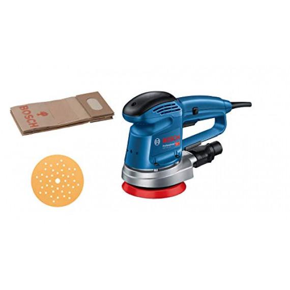 Bosch Professional ponceuse orbitale GEX 34-125 (⌀ de plateau 150 mm, disque C470 pour bois, adaptateur d'aspiration, dans carton)