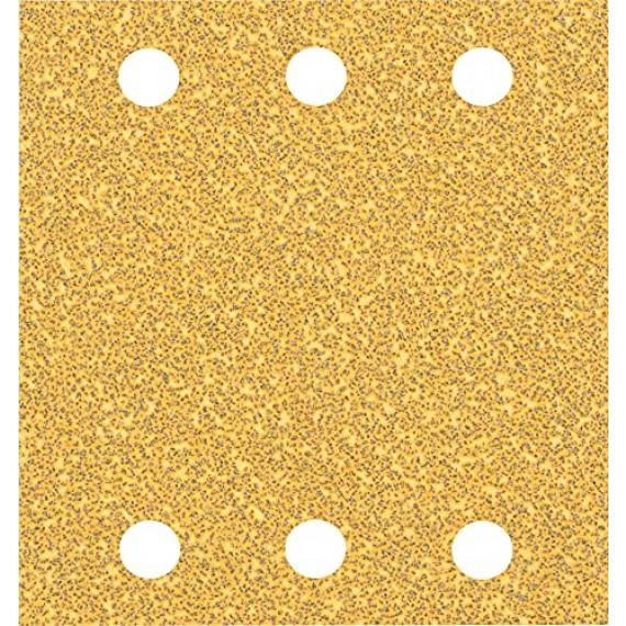 Bosch Professional 10x Feuilles abrasives Expert C470 à 6trous (pour Bois dur, Peinture sur bois, 115x107 mm, Grain 40, Accessoire Ponceuse excentrique)
