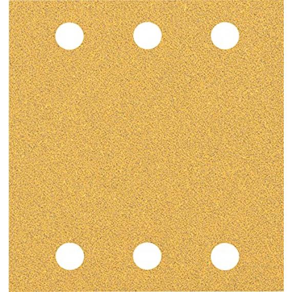 Bosch Professional 10x Feuilles abrasives Expert C470 à 6trous (pour Bois dur, Peinture sur bois, 115x107 mm, Grain 60, Accessoire Ponceuse excentrique)