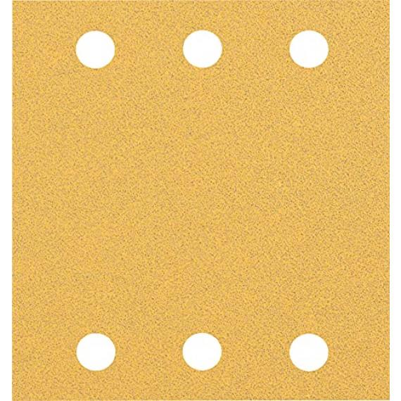 Bosch Professional 10x Feuilles abrasives Expert C470 à 6trous (pour Bois dur, Peinture sur bois, 115x107 mm, Grain 80, Accessoire Ponceuse excentrique)