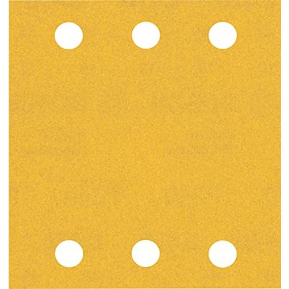Bosch Professional 10x Feuilles abrasives Expert C470 à 6trous (pour Bois dur, Peinture sur bois, 115x107 mm, Grain 240, Accessoire Ponceuse excentrique)