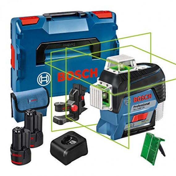 Bosch Professional 12V System laser lignes GLL 3-80 CG (2 batteries 12 V, chargeur, laser vert, avec application mobile dédiée, support, portée : jusqu'à 30 m, dans une L-BOXX) – Edition Amazon