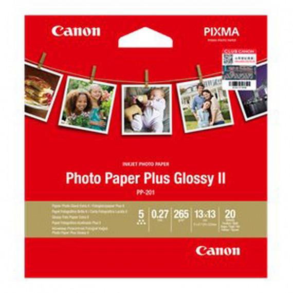 CANON Photo Paper Plus Glossy II PP-201 - Papier Photo, 265g/m² (13 x 13 cm, 20 feuilles)