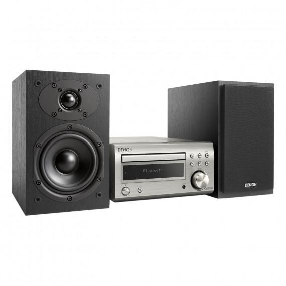 DENON Denon D-M41 DAB Argent/Noir - Micro-chaîne Hi-Fi 2 x 30 Watts avec lecteur CD/CD-R/CD-RW, tuner FM/DAB/DAB+ et Bluetooth