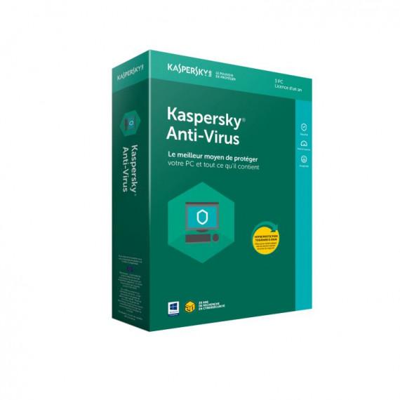 KASPERSKY Kaspersky Anti-Virus 2018 - Licence 1 an 3 postes - Antivirus - Licence 1 an 3 postes (français, WINDOWS)
