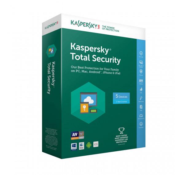 KASPERSKY Kaspersky Total Security 2018 - Licence 5 postes 1 an - Suite de sécurité internet - Licence 1 an 5 postes (français, Windows, Mac, Android, iPhone et iPad)