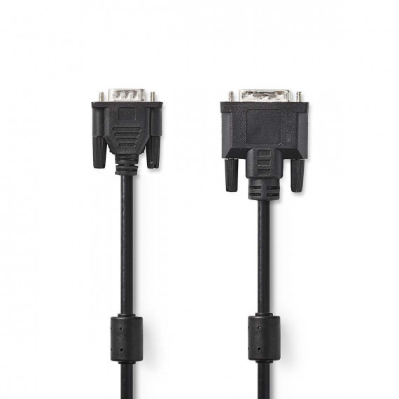 Nedis Câble DVI DVI-A Mâle à 12 + 5 Broches - VGA Mâle 2,0 m Noir