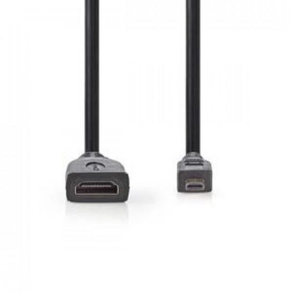 Nedis Nedis Câble Micro HDMI mâle / HDMI femelle haute vitesse avec Ethernet Noir (20 cm))