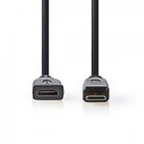 Nedis Nedis Câble Mini HDMI mâle / HDMI femelle haute vitesse avec Ethernet Noir (20 cm)