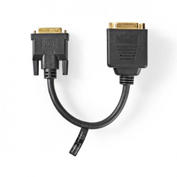 Nedis Câble DVI DVI-D Mâle à 24 + 1 Broches - DVI-D Femelle à 24 +1 Broches 0,2 m Noir