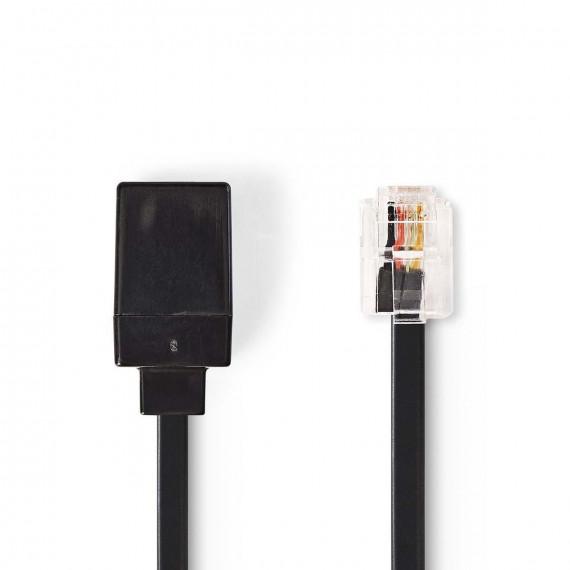 Nedis Rallonge de Câble de Télécommunication RJ11 Mâle - RJ11 Femelle 10,0 m Noir