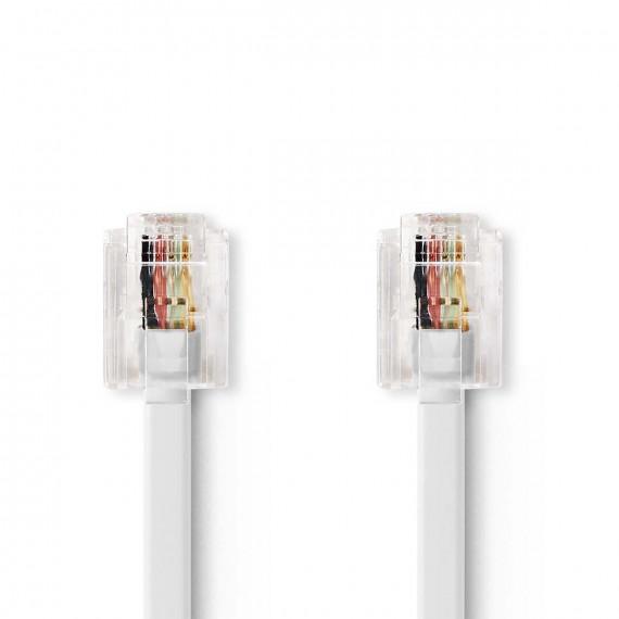 Nedis Câble de Télécommunication RJ11 (6P4C) femelle - RJ11 (6P4C) femelle Plat 5 m Blanc