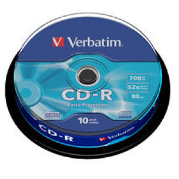 VERBATIM CD-R 80 Min/700 MB Verbatim 52x DataLifePlus Extra Protection en cakebox 10 pièces