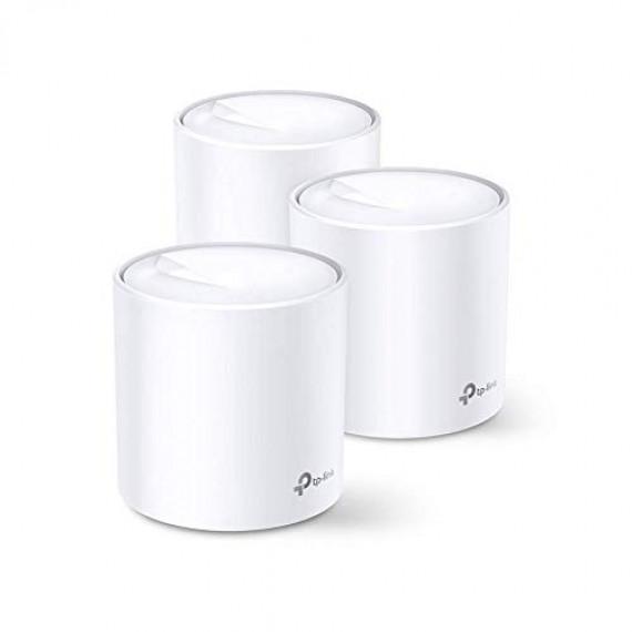 TPLINK Deco X60 AX3000 WiFi 6 Mesh 3-pc  Deco X60 AX3000 Wi-Fi 6 Whole-Home Mesh System 3-pack Quad-core CPU 2x GE RJ45 4x int.antennas MU-MIMO