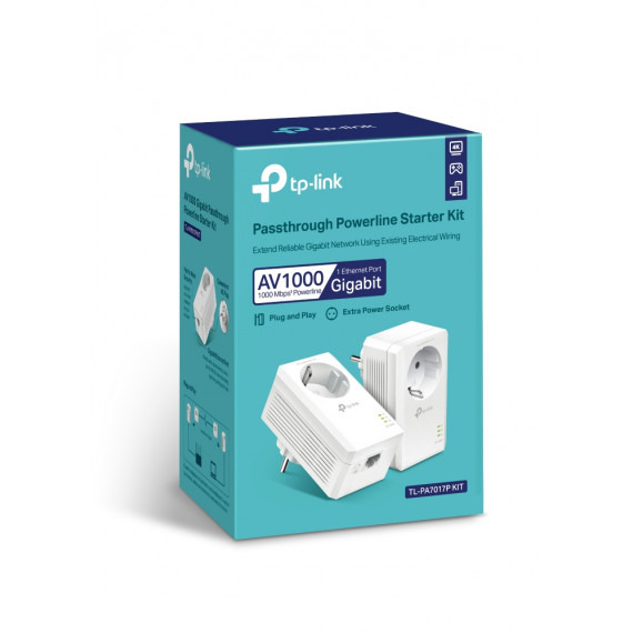 TPLINK AV1000 Passthrough Powerline KIT,  Broadcom, 1 Gigabit Port, 1000Mbps Powerline, HomePlug AV2, New PLC Utility, Twin Pack