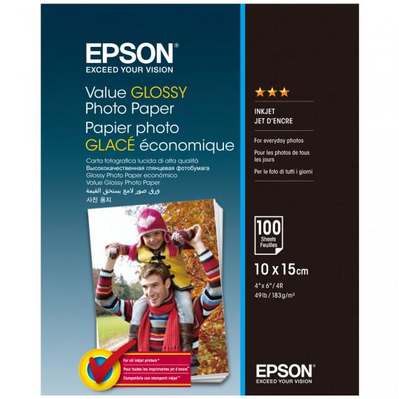 EPSON Value Glossy 10x15 cm (C13S400039) - Papier photo glacé 10 x 15 cm (100 feuilles)