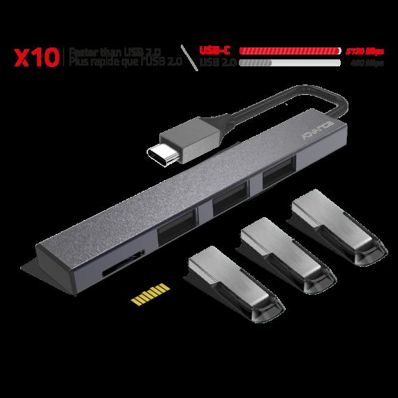 ADVANCE HUB en aluminium Type-C: 3 ports en USB2.0, 1 port microSD, ultra design, idéal pour laptop et tablette